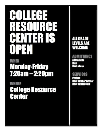 The College Resource Center is open